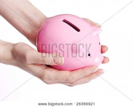 saving money,  woman hands holding piggy bank