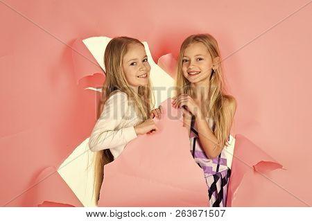 Fashion And Beauty, Little Princess. Friendship, Look, Hairdresser, Wedding. Children Girls In Dress