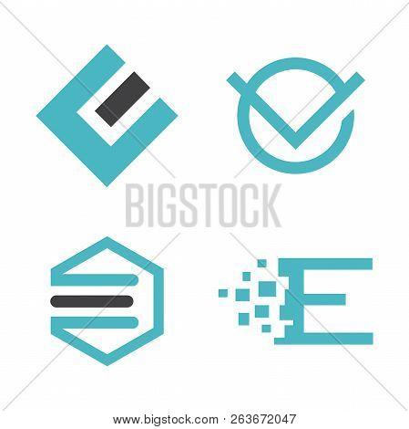 Abstract Letter E Logo Vector Set, Best Modern Elegant Letter E Logo Concept, Letter E Logo
