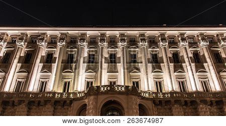 Front View Of Illuminated Cernin Palace By Night, Ministry Of Foreign Affairs Seat, Prague, Czech Re