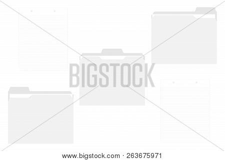 Blank File Folders With Assorted Position Cut Tabs Isolated On White Background, Template. Letter Si