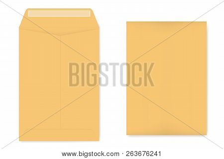 A4 Catalog Envelope With Self Adhesive Seal, Mockup. Empty Kraft Document Case Isolated On White Bac