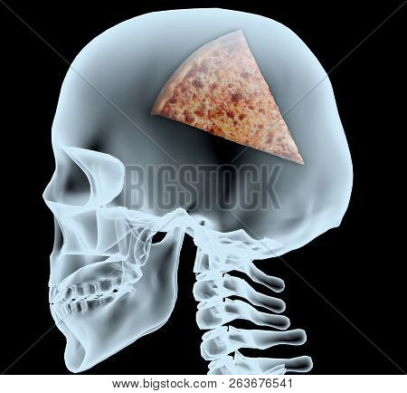 X-ray Of A Head With The Pizza Instead Of The Brain, 3d Illustration