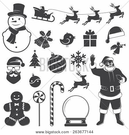 Set Of Christmas Icons. Vector Illustration. Set Include Gift Boxes Christmas Tree Wreath Snowman Sa