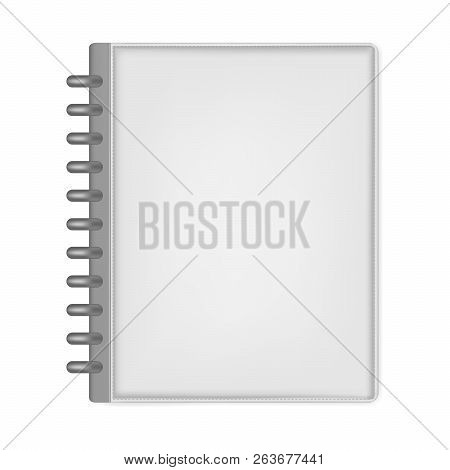 Closed Letter Size Discbound Notebook, Vector Mock Up. Gray Leather Disc Bound Journal Isolated On W