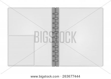 Open Empty Letter Size Discbound Notebook Folder With Interior Pocket Top View, Vector Mock Up. Hard