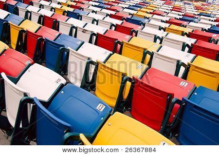 Vibrant stadium chairs.