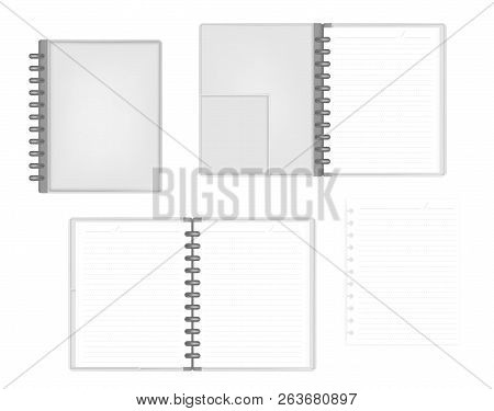 Open And Closed Discbound Letter Size Notebook With Interior Pocket Top View, Vector Mock Up. Gray L