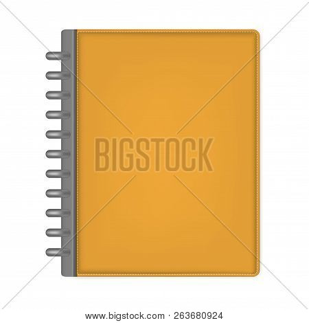 Closed Letter Size Discbound Notebook, Vector Mock Up. Orange Leather Disc Bound Journal, Template.