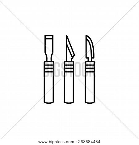 Black & White Vector Illustration Of Craft Cutters. Line Icon Of Sharp Scalpels Or Hobby Knifes. Too