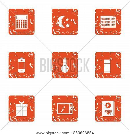 Night Parking Icons Set. Grunge Set Of 9 Night Parking Vector Icons For Web Isolated On White Backgr