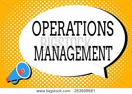 Word writing text Operations Management. Business concept for ensure Inputs to Output the Production and Provision poster