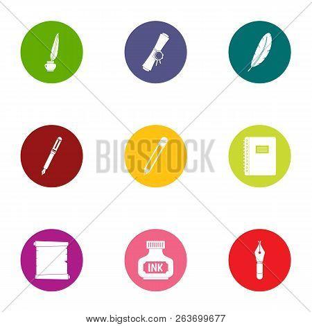 Written Affiliation Icons Set. Flat Set Of 9 Written Affiliation Vector Icons For Web Isolated On Wh