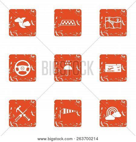 Elaborate Icons Set. Grunge Set Of 9 Elaborate Vector Icons For Web Isolated On White Background