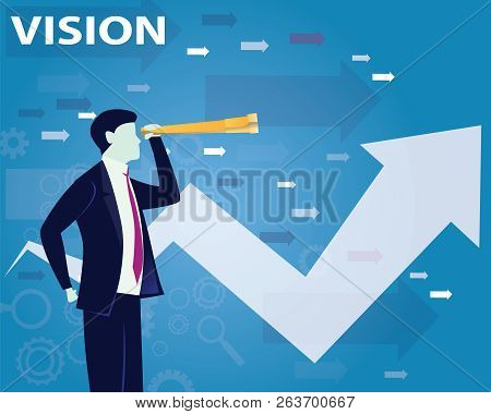 Business Vision Concept, Businessman Looking Forward To The Future