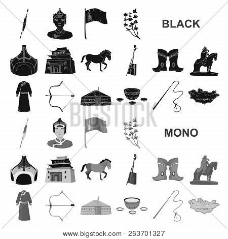 Country Mongolia Black Icons In Set Collection For Design.territory And Landmark Vector Symbol Stock