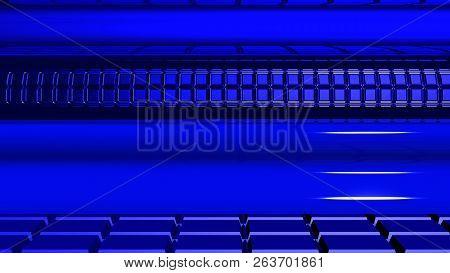 Fondo Futurista De Color Azul. El Piso Tiene Patrones Cuadrados. La Pared Tiene Figuras Con Curvas Y