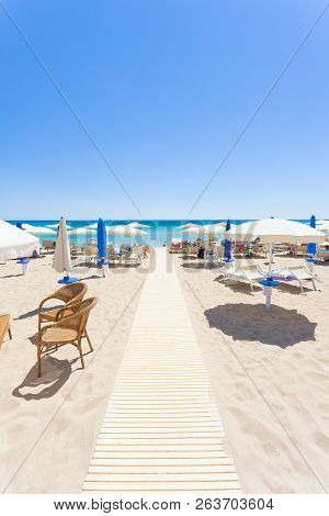 Lido Venere, Apulia, Italy - Sunshades At The Beautiful Beach Of Lido Venere