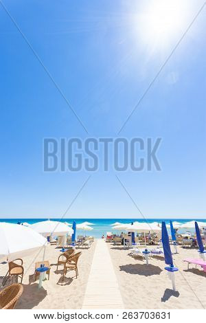 Lido Venere, Apulia, Italy - The Sun Is Burning Hot At The Beach Of Lido Venere