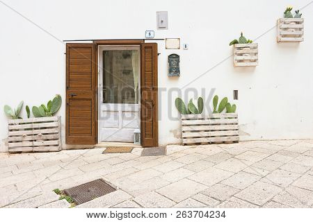 Specchia, Apulia, Italy - May 29, 2017 - Cacti Planted In Front Of A House Entrance