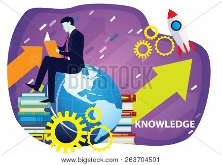 Vector Illustration. Knowledge Business Education Concept. Businessman And Books. Reading Book For S