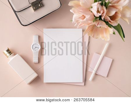 Flat Lay Scene In Peach Pink Tones For Self Employed Freelance Girl. Feminine Little Things As A Sma