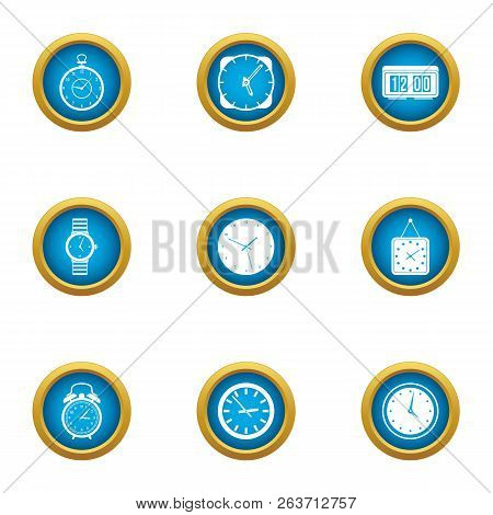 Timepiece Icons Set. Flat Set Of 9 Timepiece Vector Icons For Web Isolated On White Background