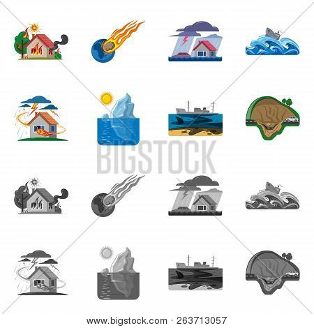 Vector Design Of Natural And Disaster Sign. Set Of Natural And Risk Vector Icon For Stock.