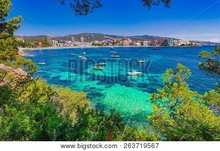 Mallorca Island, Seaside View Of Magaluf Beach, Spain Mediterranean Sea