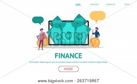 Modern Flat Concept For Finance Or Business Web Landing With Little People Holding Money And Credit