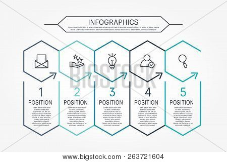Modern Line Vector Illustration. Infographic Template With Five Elements, Hexagons And Text. Timelin