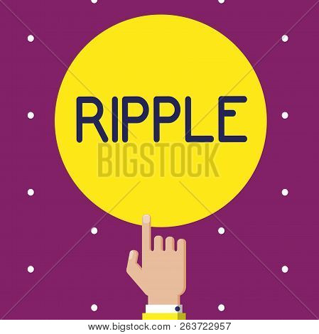 Conceptual Hand Writing Showing Ripple. Business Photo Showcasing Small Wave Or Series Of Them Surfa