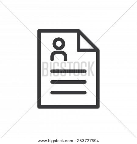 Resume Document Vector Icon On White Background. Resume Document Icon In Modern Design Style. Resume