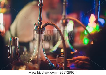 Hookah In The Restaurant Hookah Elements On The Background Of A Blurry Interior Of The Restaurant, A