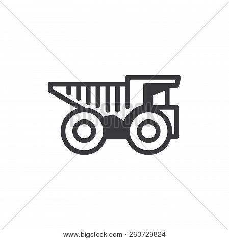 Mine Truck Vector Icon On White Background. Mine Truck Icon In Modern Design Style. Mine Truck Vecto