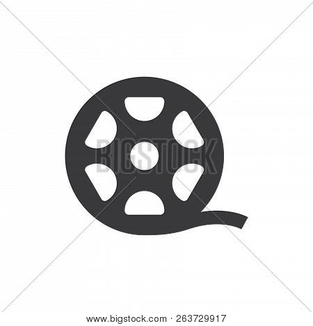 Big Film Roll Vector Icon On White Background. Big Film Roll Icon In Modern Design Style. Big Film R