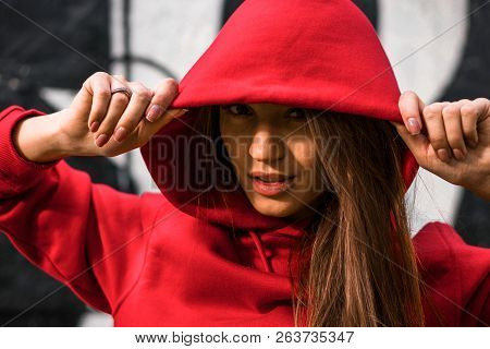 Close Up Portrait Of Adorable Caucasian Girl In Costume For Sport. Beautiful Young Fit Fitness Sport