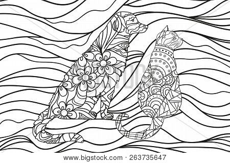 Wavy Wallpaper With Dog And Cat. Zentangle. Hand Drawn Ornaments. Abstract Patterns On