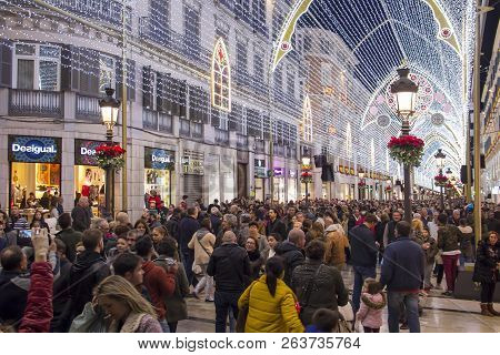Malaga, Spain - December 9, 2017: Christmas Decorations And Light Show In The Center Of Malaga (call