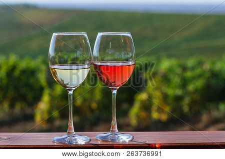 Autumn Landscape With Glasses Of Rose And White Wine On The Background Of A Vineyard.