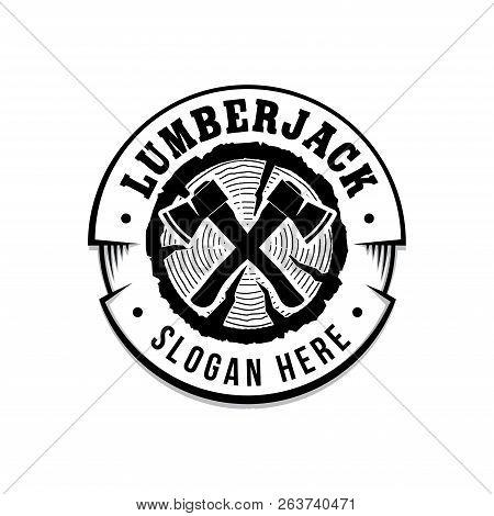 Lumberjack Logo. Lumberjack Design Template. Vector And Illustrations.