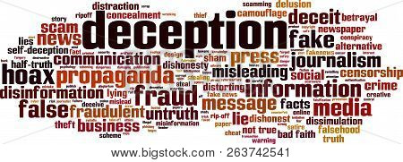 Deception Word Cloud Concept. Vector Illustration On White