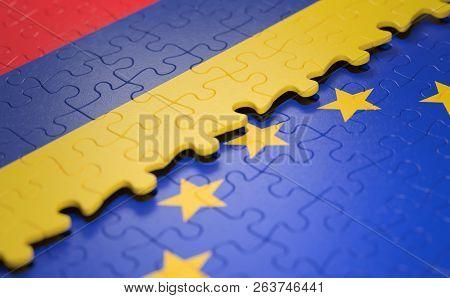 Flag Of The Romania And The European Union In The Form Of Puzzle Pieces In Concept Of Politics And E