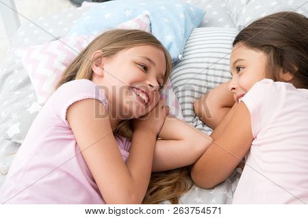 Best Friends Forever. Girls Relaxing On Bed. Slumber Party Concept. Girls Just Want To Have Fun. Inv