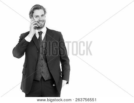 Businessman Or Ceo In Black Jacket. Man In Formal Outfit With Mobile Phone. Business Fashion And Suc