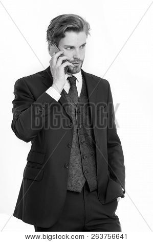 Conversation And New Technology. Business Fashion And Success. Man In Formal Outfit With Mobile Phon