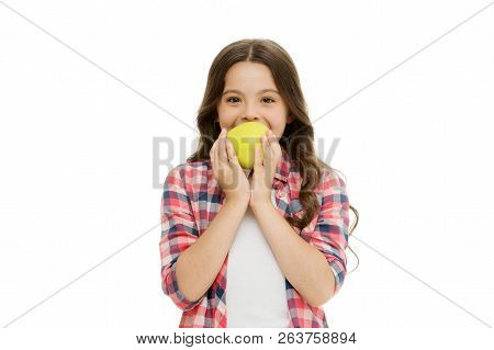 Child Girl Casual Clothes Holds Apple. Child Kid Happy Face Like Apple. School Snack Concept. Health