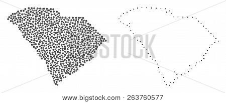 Dotted And Frame Map Of South Carolina State Formed With Dots. Vector Gray Abstraction Of Map Of Sou