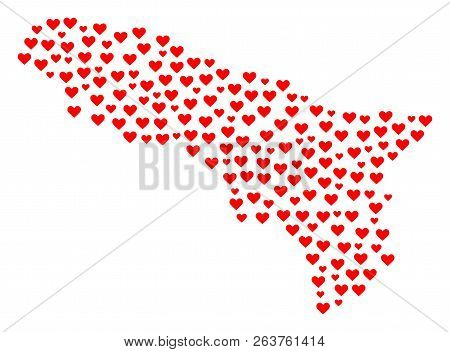 Collage Map Of Abkhazia Composed With Red Love Hearts. Vector Lovely Geographic Abstraction Of Map O