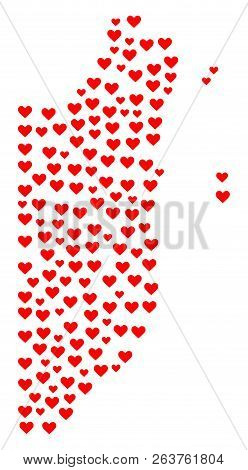 Collage Map Of Belize Formed With Red Love Hearts. Vector Lovely Geographic Abstraction Of Map Of Be